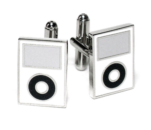 MP3 Player Cufflinks | Mens Silver Tone White MP3 Player Cufflinks