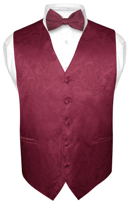 Mens Paisley Design Dress Vest & Bow Tie Burgundy Color BowTie Set