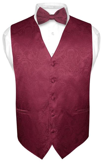 Mens Paisley Design Dress Vest & Bow Tie Burgundy Color BowTie Set