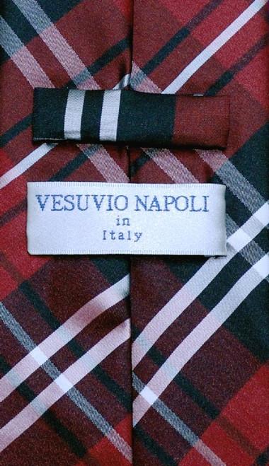 Vesuvio Napoli NeckTie Black Burgundy White Plaid Design Mens Neck Tie