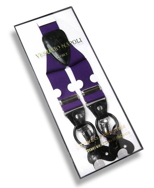 Mens Solid Purple Suspenders Y Shape Back Elastic Button & Clip