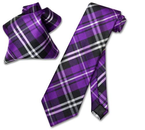 Vesuvio Napoli Purple Black White Plaid NeckTie & Handkerchief Tie Set