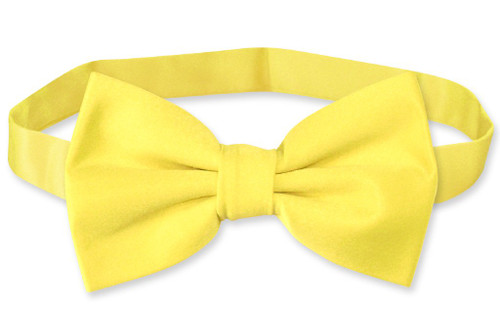 Vesuvio Napoli BowTie Solid Golden Yellow Color Mens Bow Tie