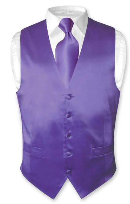 Biagio Mens Silk Dress Vest & NeckTie Solid Purple Color Neck Tie Set