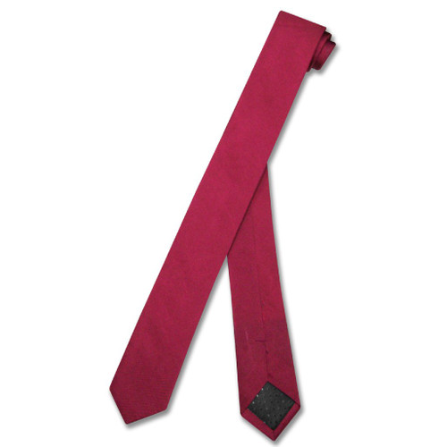 Cranberry Dark Red Extra Skinny Neck Tie | Mens 100% Silk NeckTies