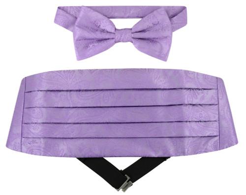 Cumberbund BowTie Lavender Purple Paisley Mens Cummerbund Bow Tie Set