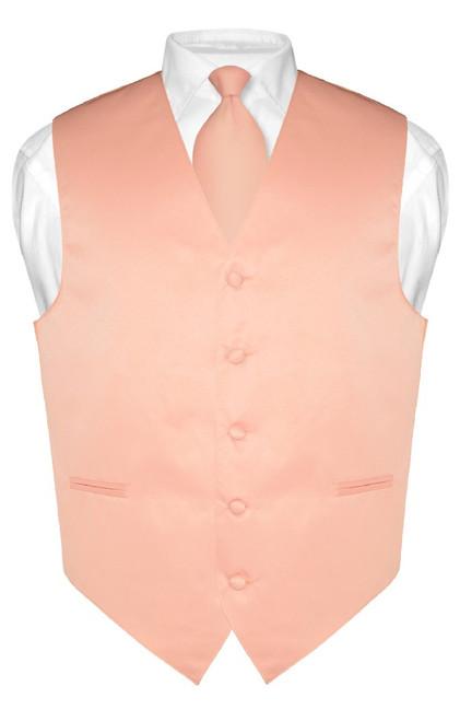 Mens Dress Vest & NeckTie Solid Peach Color Neck Tie Set