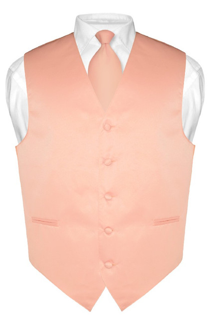 Mens Dress Vest & NeckTie Solid Peach Color Neck Tie Set