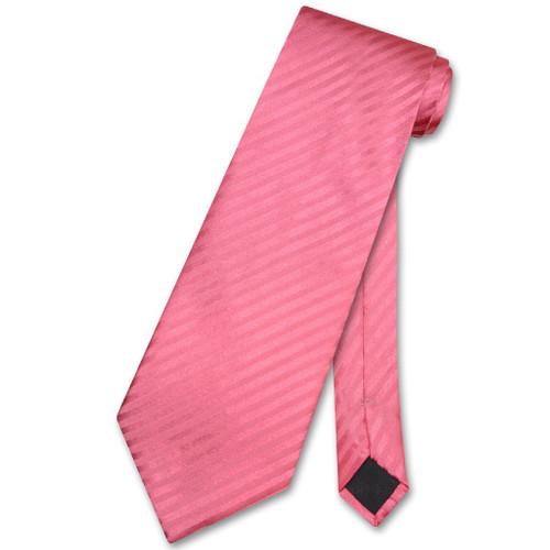 Vesuvio Napoli NeckTie Coral Pink Stripe Vertical Stripe Mens Neck Tie