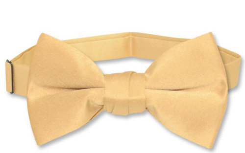 Vesuvio Napoli Boys BowTie Solid Gold Color Youth Bow Tie