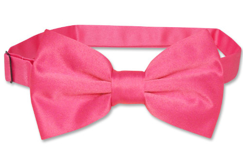 Vesuvio Napoli BowTie Solid Hot Pink Fuchsia Color Mens Bow Tie