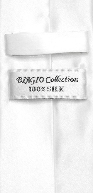 Biagio 100% Silk Narrow NeckTie Skinny White Color Mens Neck Tie