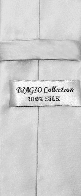 Biagio 100% Silk Narrow NeckTie Skinny Silver Grey Color Mens Neck Tie