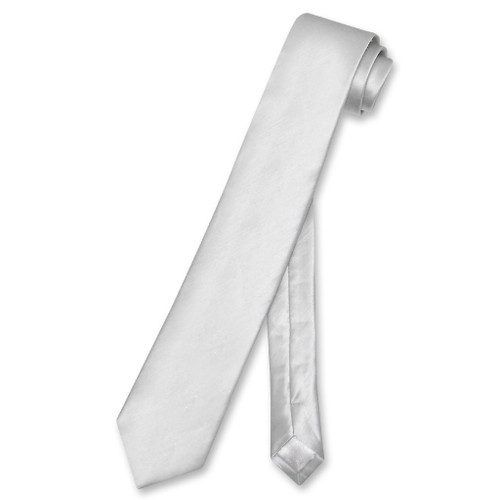 Biagio Bamboo Silk Narrow NeckTie Skinny Silver Grey Mens Neck Tie