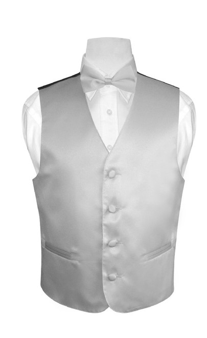 Boys Dress Vest Bow Tie Solid Silver Grey Color BowTie Set