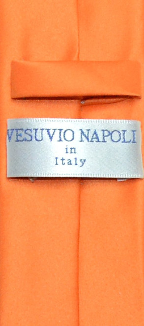 Vesuvio Napoli Narrow NeckTie Skinny Orange Color Mens Thin Neck Tie