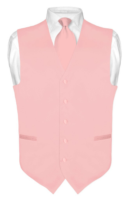Mens Dress Vest & NeckTie Solid Dusty Pink Color Neck Tie Set