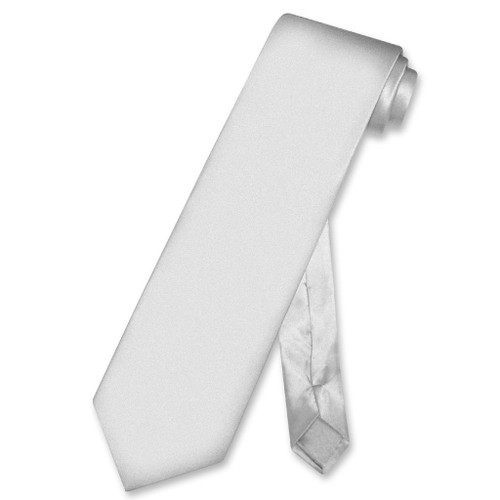Biagio 100% Silk NeckTie Extra Long Solid Silver Grey Mens XL Neck Tie