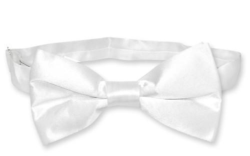 White Color Mens Bowtie   Biagio Silk Pre Tied Solid Colored Bow Tie