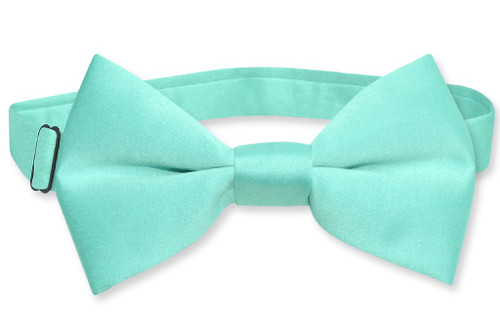 Vesuvio Napoli Boys BowTie Solid Aqua Green Color Youth Bow Tie