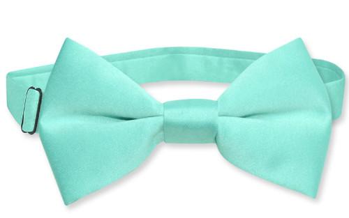 Vesuvio Napoli Boys BowTie Solid Aqua Green Color Youth Bow Tie