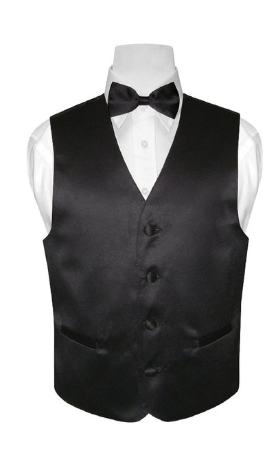 Boys Dress Vest Bow Tie Solid Black Color BowTie Set
