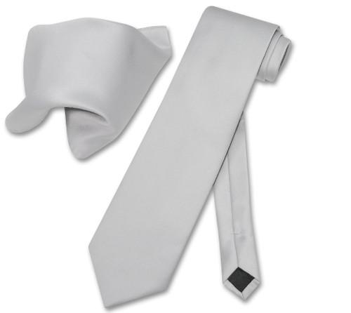 Vesuvio Napoli Solid Silver Grey NeckTie Handkerchief Men Neck Tie Set
