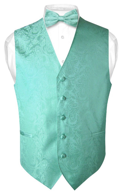 Mens Paisley Design Dress Vest & Bow Tie Aqua Green Color BowTie Set