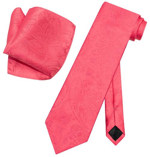 Vesuvio Napoli Coral Pink Paisley NeckTie & Handkerchief Neck Tie Set