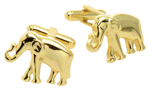 Elephant Cufflinks | Mens Gold Tone Elephant Cufflinks
