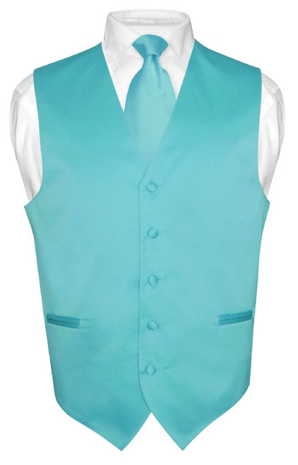 Mens Dress Vest & NeckTie Solid Turquoise Aqua Blue Neck Tie Set