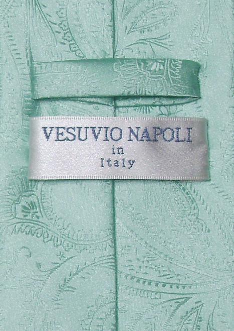 Vesuvio Napoli Aqua Green Paisley NeckTie & Handkerchief Tie Set