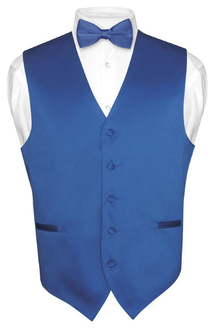 Mens Dress Vest & BowTie Solid Royal Blue Color Bow Tie Set