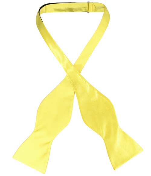Biagio Self Tie Bow Tie Solid Yellow Color Mens BowTie