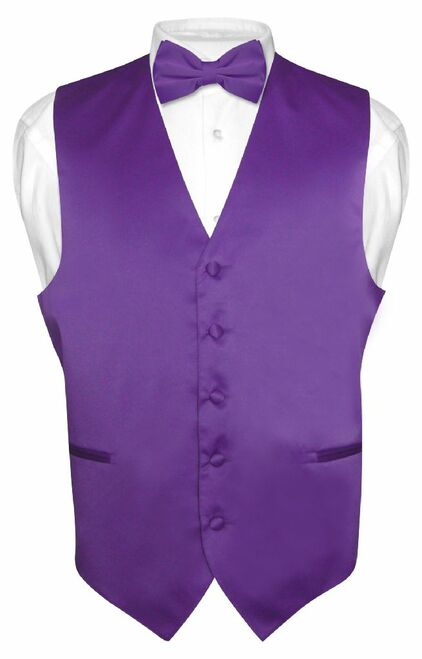 Mens Dress Vest & BowTie Solid Purple Indigo Color Bow Tie Set