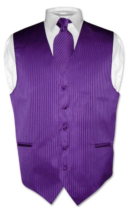 Mens Dress Vest & NeckTie Purple Color Vertical Striped Neck Tie Set