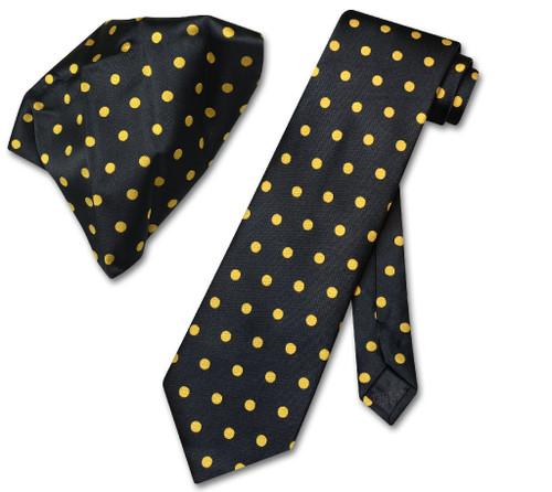 Vesuvio Napoli Black YELLOPolka Dots NeckTie Handkerchief Tie Set
