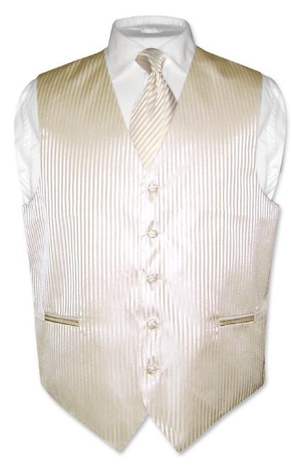 Mens Dress Vest & NeckTie Egg Yolk Cream Vertical Striped Neck Tie Set
