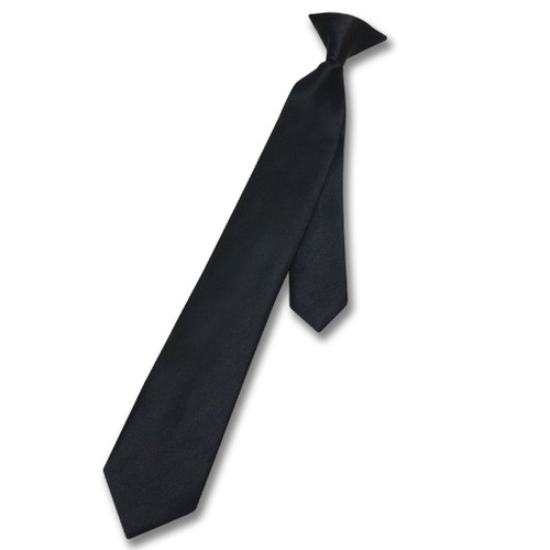 Vesuvio Napoli Boys Clip-On NeckTie Solid Black Color Youth Neck Tie