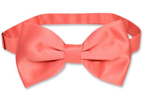 Vesuvio Napoli BowTie Solid Coral Pink Color Mens Bow Tie