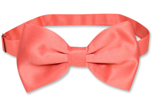 Coral Vest And Tie   Solid Color Coral Pink Vest And Bow Tie Set