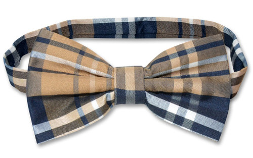 Vesuvio Napoli BowTie Navy Brown White Color Plaid Design Mens Bow Tie