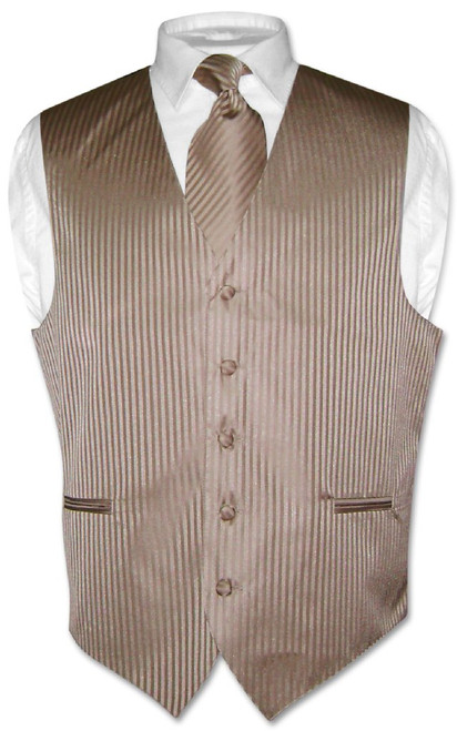 Mens Dress Vest NeckTie Mocha Lt. Brown Vertical Striped Neck Tie Set