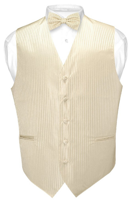 Mens Dress Vest BowTie Egg Yolk Cream Vertical Striped Bow Tie Set