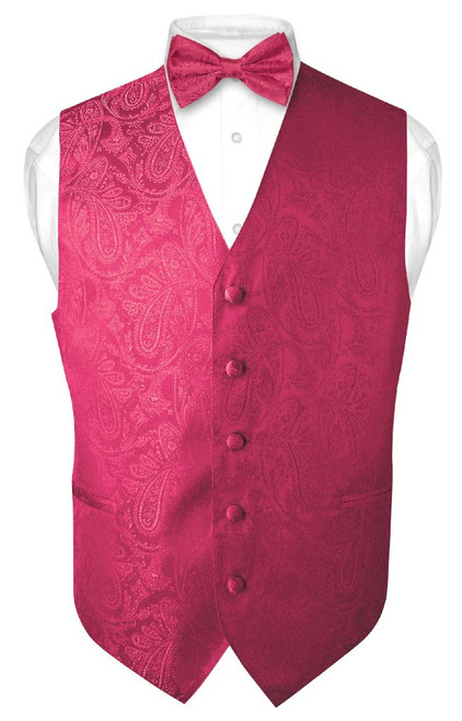 Mens Paisley Design Dress Vest & Bow Tie Hot Pink Fuchsia BowTie Set