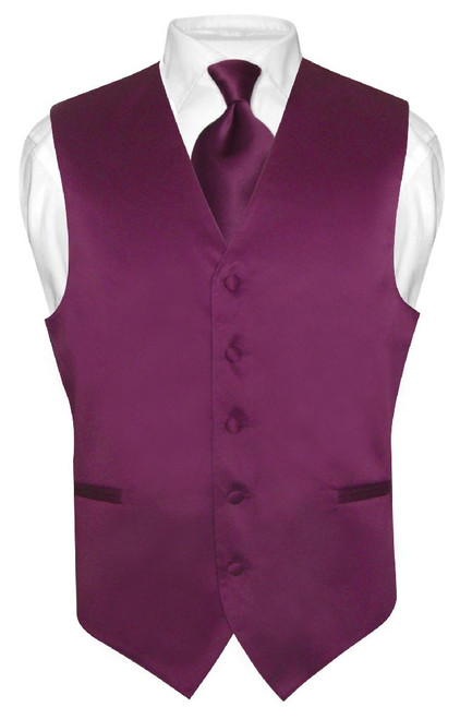 Mens Dress Vest & NeckTie Solid Eggplant Purple Color Neck Tie Set