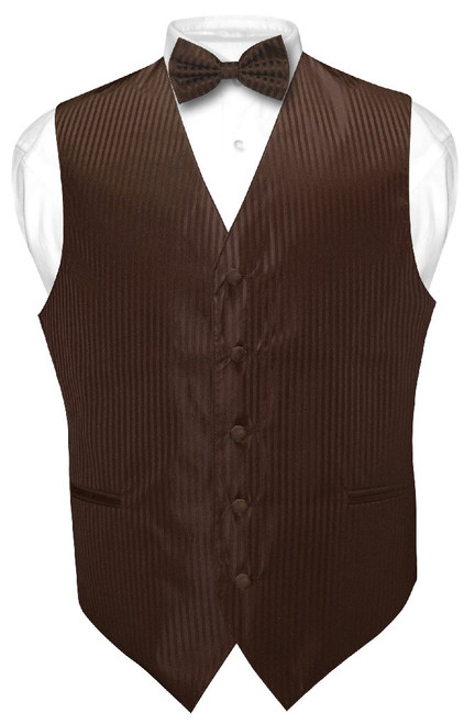 Mens Dress Vest BowTie Chocolate Brown Color Striped Bow Tie Set