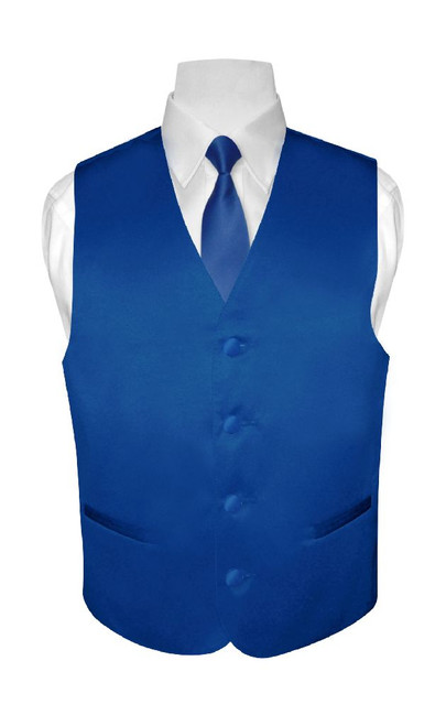 Boys Dress Vest NeckTie Solid Royal Blue Color Neck Tie Set