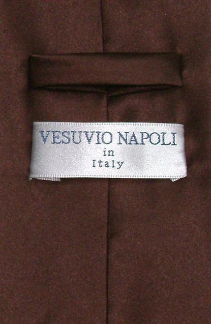 Vesuvio Napoli Solid Chocolate Brown NeckTie Handkerchief Mens Tie Set