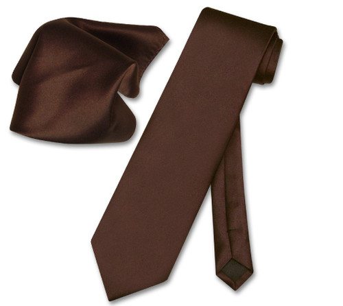 Vesuvio Napoli Solid Chocolate Brown NeckTie Handkerchief Mens Tie Set